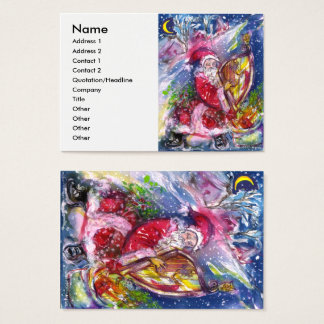SANTA CLAUS PLAYING HARP IN THE MOONLIGHT BUSINESS CARD