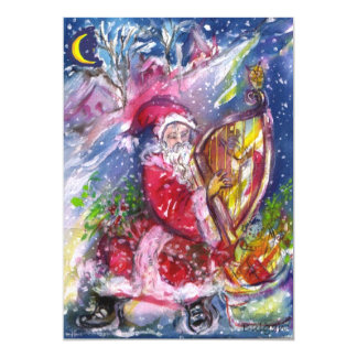 SANTA CLAUS PLAYING HARP IN THE MOONLIGHT CARD