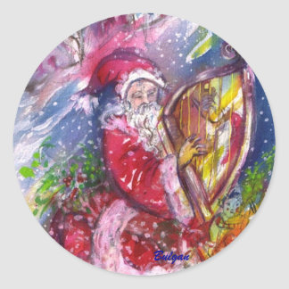 SANTA CLAUS PLAYING HARP IN THE MOONLIGHT CLASSIC ROUND STICKER