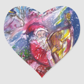 SANTA CLAUS PLAYING HARP IN THE MOONLIGHT Heart Heart Sticker