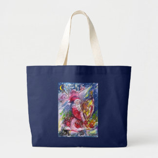SANTA CLAUS PLAYING HARP IN THE MOONLIGHT LARGE TOTE BAG
