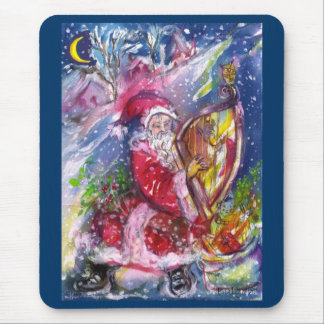 SANTA CLAUS PLAYING HARP IN THE MOONLIGHT MOUSE PAD