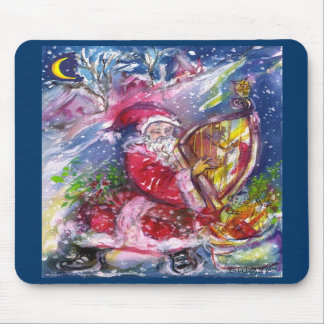 SANTA CLAUS PLAYING HARP IN THE MOONLIGHT MOUSEPAD
