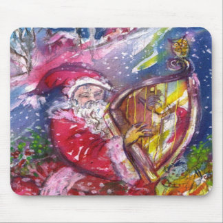 SANTA CLAUS PLAYING HARP IN THE MOONLIGHT MOUSEPADS