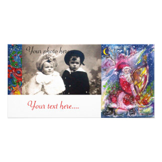 SANTA CLAUS PLAYING HARP IN THE MOONLIGHT PHOTO CARD