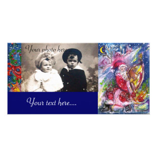 SANTA CLAUS PLAYING HARP IN THE MOONLIGHT PHOTO CARD TEMPLATE