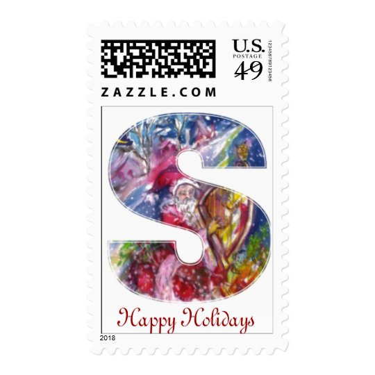 SANTA CLAUS PLAYING HARP IN THE MOONLIGHT POSTAGE