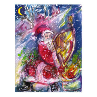 SANTA CLAUS PLAYING HARP IN THE MOONLIGHT POSTCARD