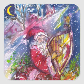SANTA CLAUS PLAYING HARP IN THE MOONLIGHT SQUARE STICKER