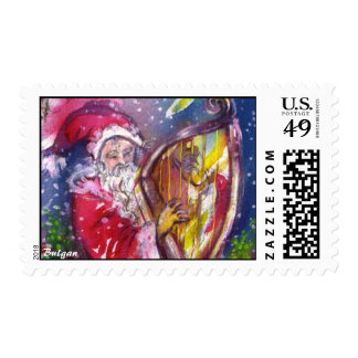 SANTA CLAUS PLAYING HARP IN THE MOONLIGHT STAMP