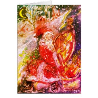 SANTA CLAUS PLAYING HARP Musical Christmas Night Card