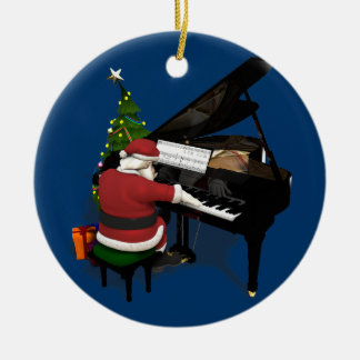 Santa Claus Playing Piano Ceramic Ornament