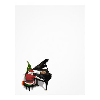 Santa Claus Playing Piano Letterhead