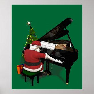 Santa Claus Playing Piano Poster