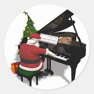 Santa Claus Playing Piano Stickers