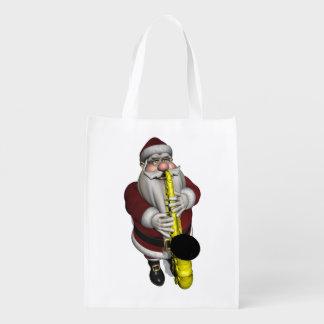 Santa Claus Playing Saxophone Grocery Bag