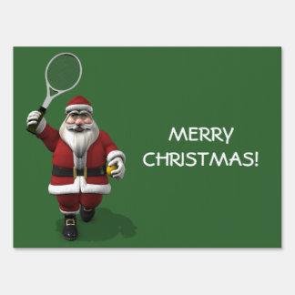 Santa Claus Playing Tennis Lawn Sign