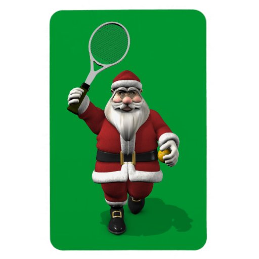 Santa claus playing tennis magnets zazzle