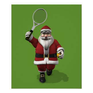Santa Claus Playing Tennis Poster