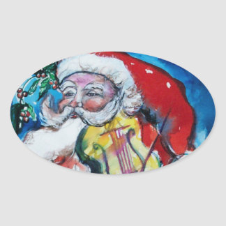 SANTA CLAUS PLAYING VIOLIN Christmas Party Oval Sticker