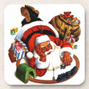 Santa Claus Playing With Trains Beverage Coasters