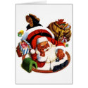 Santa Claus Playing With Trains Greeting Card