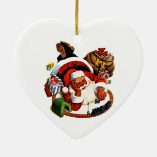 Santa Claus Playing With Trains Christmas Tree Ornaments