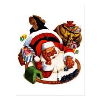 Santa Claus Playing With Trains Postcard