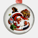 Santa Claus Playing With Trains Round Metal Christmas Ornament