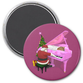 Santa Claus Plays Pink Piano 3 Inch Round Magnet