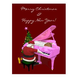 Santa Claus Plays Pink Piano Postcard