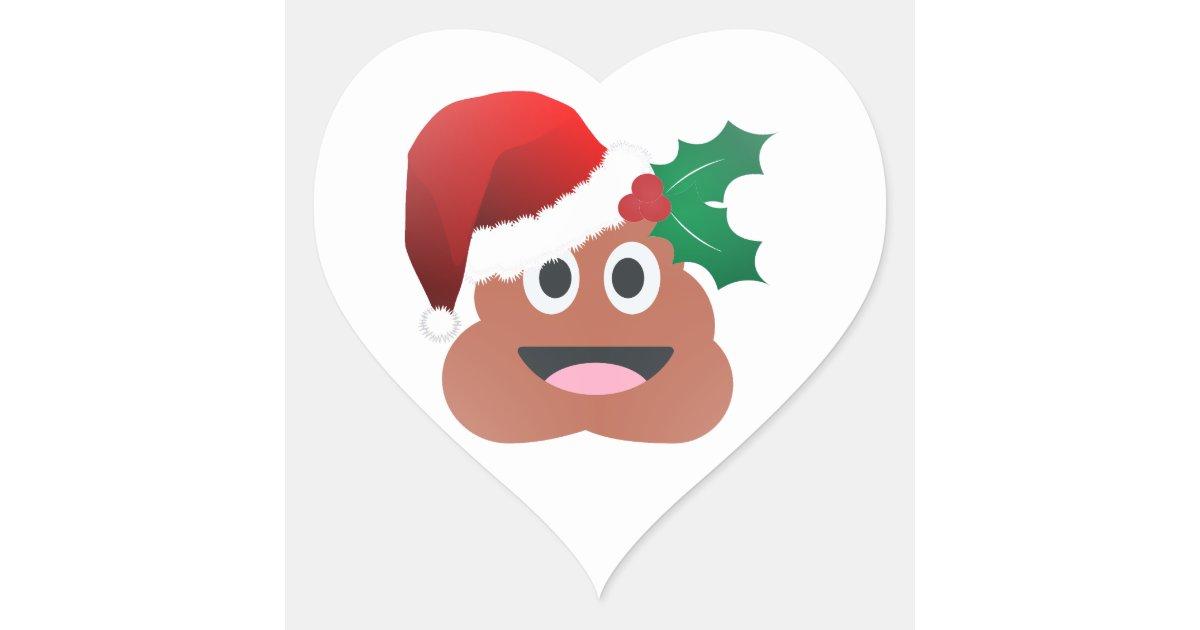 Santa Claus Poop Emoji Heart Sticker Zazzle