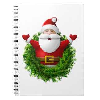 Santa Claus Pops Out of a Christmas Wreath Spiral Note Books