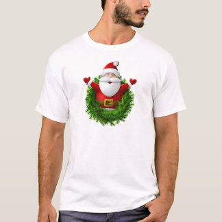 Santa Claus Pops Out of a Christmas Wreath T-Shirt