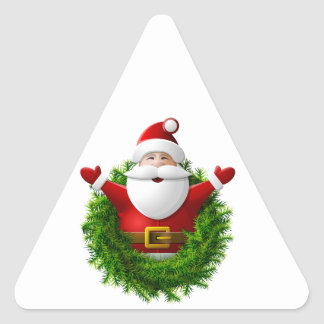 Santa Claus Pops Out of a Christmas Wreath Triangle Sticker