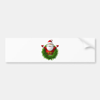 Santa Claus Pops Out of the Christmas Wreath Car Bumper Sticker
