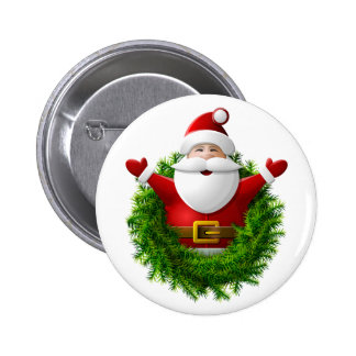 Santa Claus Pops Out of the Christmas Wreath Pin