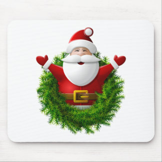 Santa Claus Pops Out of the Christmas Wreath Mousepad