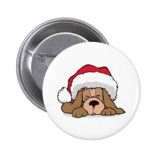 Santa Claus Puppy Pinback Button