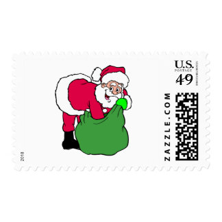 Santa Claus Reaches Into Pack Postage Stamp
