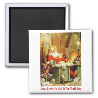 Santa Claus Read His Mail and Makes His List 2 Inch Square Magnet