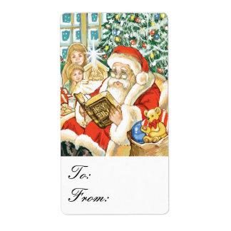 Santa Claus Reading Bible Christmas Eve Gift Tag Shipping Label