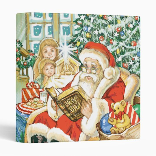 Santa Claus Reading the Bible on Christmas Eve 3 Ring Binder