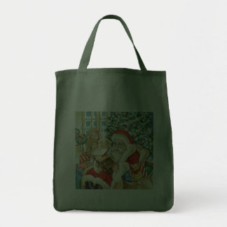 Santa Claus Reading the Bible on Christmas Eve Tote Bag
