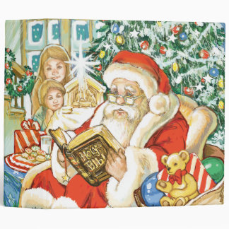 Santa Claus Reading the Bible on Christmas Eve Vinyl Binders