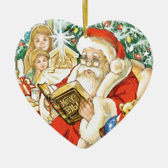 Santa Claus Reading the Bible on Christmas Eve Ceramic Ornament