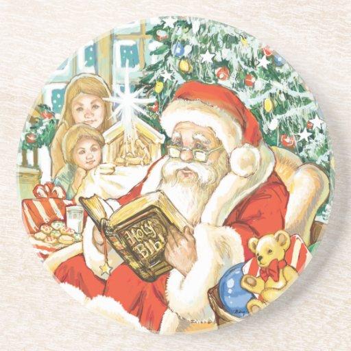 Santa Claus Reading the Bible on Christmas Eve Coaster