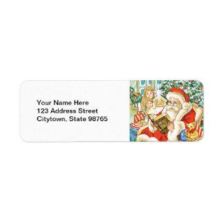 Santa Claus Reading the Bible on Christmas Eve Return Address Label