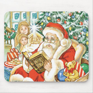 Santa Claus Reading the Bible on Christmas Eve Mouse Pad