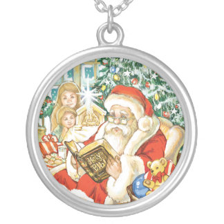 Santa Claus Reading the Bible on Christmas Eve Personalized Necklace